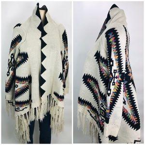 Sweaters - Leshop Open Sweater Cardigan M Navajo Print Aztec